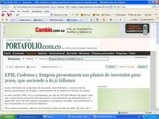 EPM, Codensa y Emgesa invertirán $1,6 billones en 2009