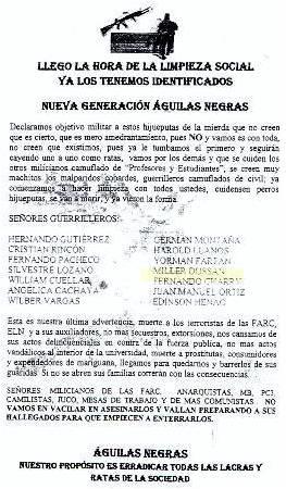 "Paramilitares ""Águilas Negras"" amenazan directivo de Plataforma Sur"