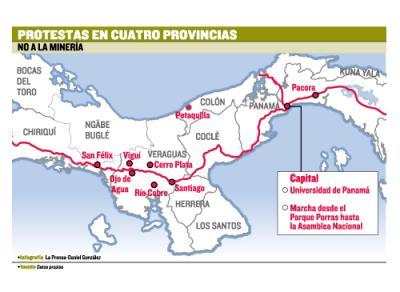 Protestan 4 provincias de Panamá por la Defensa de los Recursos Minerales y el Derecho del pueblo Ngäbe Buglé