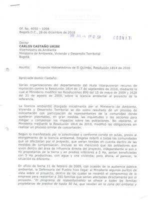 1. Quimbo: Carta Defensoría de Pueblo a Ministerio de Ambiente