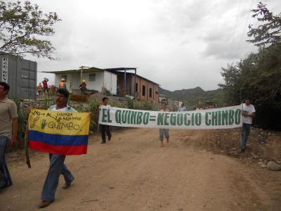 Exigencia pacifica de derechos en el Quimbo, amenazada por la fuerza pública